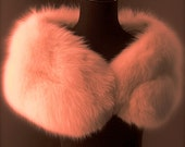 Ultimate Luxury Gift Or Bridal Wedding Accessory/Breathtaking Hollywood Starlet Salmon Warm Pink Fox Fur Wrap/Vintage Stole Cape Shrug Boa
