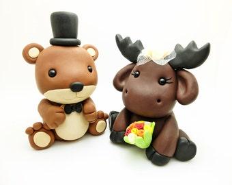 Bear+Moose wedding cake toppers
