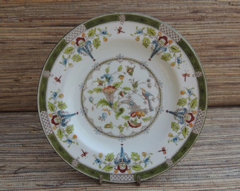 Vintage Floral Wedgwood China Bread/Salad Plate with Birds, Cornucopias, Green Border