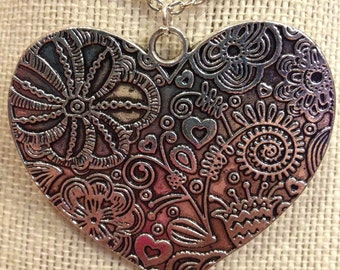 "20"" Large Flowered-Heart Necklace"