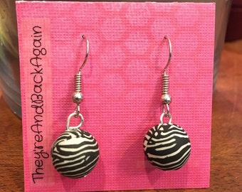 Zebra Clay Bead Earrings