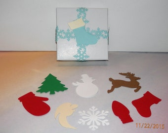 Christmas Paper Punch Tree,Snowman,Reindeer,Mitten,Stocking,Bulb,Angel,LG Snowflake 12 piece sets