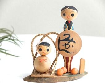 Vintage Japanese Kokeshi wood doll, Japanese doll
