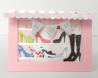 Handmade Mothers Day Card, Shoe Boutique, Shoe Lovers, High Heels, Womens Shoes, Card for Mom, Mother Birthday Card, Shopaholics Card