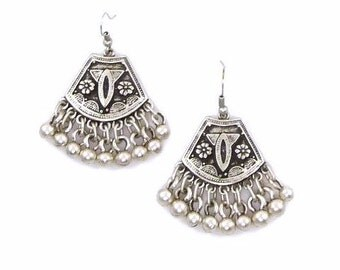 Silver Tribal Dangle Gypsy Seneca Bohemian Earrings
