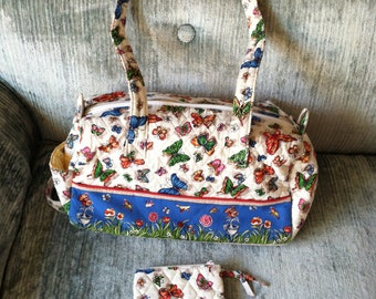 Butterflies Quilted Hand Bag & Coin Purse