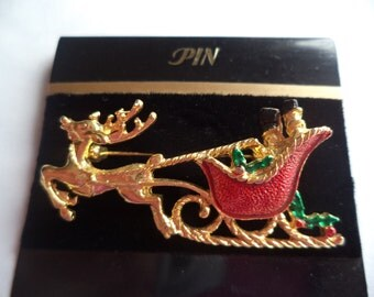 Fabulous Unsigned Goldtone/Red Reindeer Sleigh Ride Brooch/Pin
