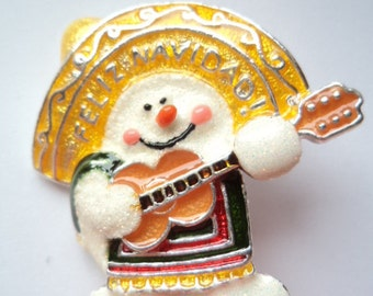 """Vintage Unsigned South of the border Snowman """"Merry Christmas"""" Brooch/Pin"""