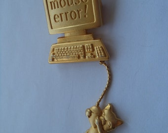 Vintage Signed JJ Gold pewter Mouse Error Brooch/Pin