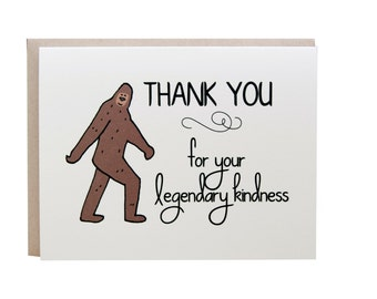 Thank You Card, Funny, Big Foot Card, Geeky Thank You