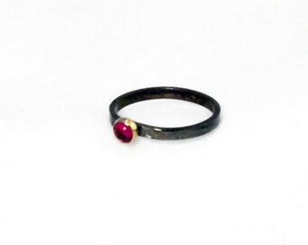 Garnet Ring with 14k Gold Bezel on Sterling Silver Band, Garnet Stacking RIng, Gold Bezel Ring, silver and gold ring,