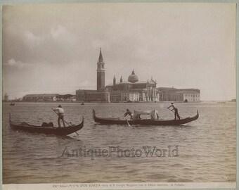 Venice Church of San Giorgio Maggiore gondola antique photo Italy