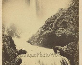 Cascata delle Marmore waterfalls antique albumen photo Terni Italy