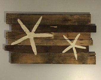 "Beach Decor Starfish Reclaimed Wood Natural Color 43"" x 24"""