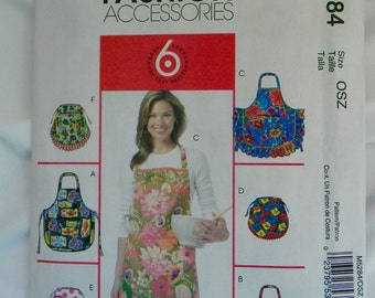 Apron from Fashion Accessories McCalls Pattern M5284 3 Full and 3 Half Aprons Small, Med Large and Extra Large Sizes FREE US SHIPPING