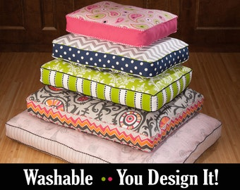 Custom Large Dog Bed - You choose fabrics & size - Polyfill or Foam Insert Included