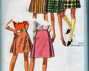 1967 Simplicity 7130 Pattern Miss Waist 28 Hip 28 Pleated Mini & Knee length KILT Skirt -cutest possible cut only Vintage can deliver!