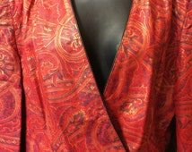 Vintage 80's Carlos Falchi Leather Crop/Bolero Jacket Red W/ Hint Of Gold & Blue - Paisley Style Print-Beautiful Italian Made- Rare