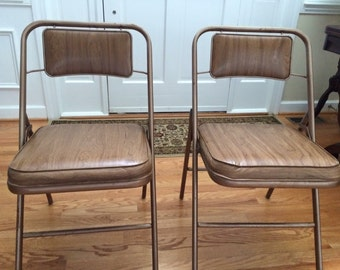 Vintage mid century Set of two samsonite collapsible foldable chairs metal vinyl