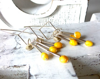 Baltic Amber , Sterling Silver Earrings . Modern Earrings .