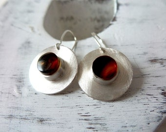Sterling Silver Earrings ,Cognack Amber Earrings .Modern Earrings .
