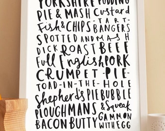 A4 English Food Print - Kitchen Print