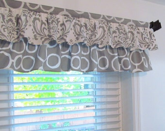 Gray & White Two Tiered  Valance Kitchen/ Bathroom/ Nursery Window Topper Custom Sizing Available!