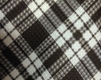Vintage Prince Consort Golden Clasp Brown and White Plaid Tie