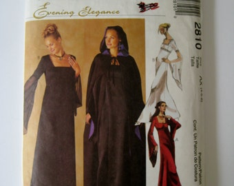 McCalls Sewing Pattern 2810 Cape Costume Pattern Hooded Cape Wiccan Cape Bell Sleeve Dress Pattern Empire Waist Dress Size 4 6 8 UNCUT