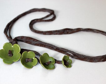 Necklace, Forest Green Necklace, Ceramic Flower Necklace