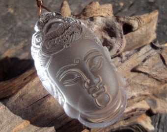 "Carved Clear Rock Crystal Pendant,""Guan Yin"",Semiprecious Stone,Q-Stone,Big,45x25x15mm"