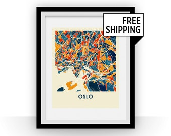 Oslo Map Print - Full Color Map Poster