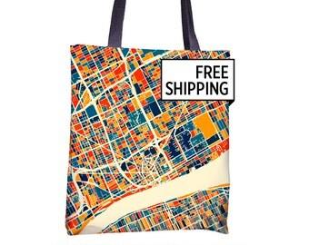 Detroit Map Tote Bag - Michigan Map Tote Bag 15x15