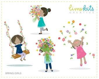 Spring Girls Clip Art