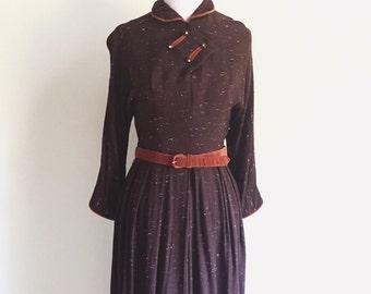 1940s Brown and Burnt Orange Dress
