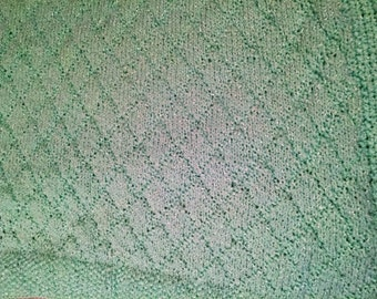 Green Hand-knit Baby Blanket