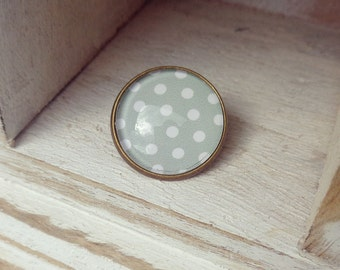 Antique brass green and white polka dot brooch