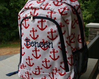Kids Personalized Backpack Red Anchors Personalized Bookbag Red White Blue Kids Monogrammed Bookbag
