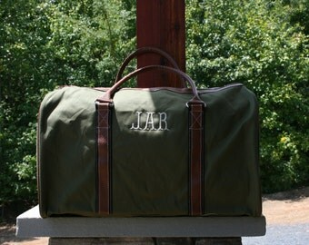Monogrammed Mens Duffel Bag Personalized Forest Green Weekender Bag