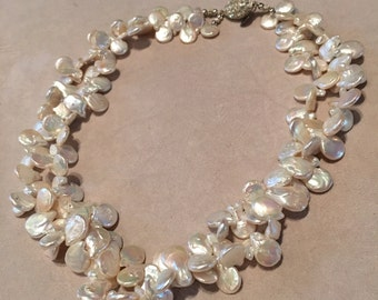 Coin Pearl Double Strand Necklace