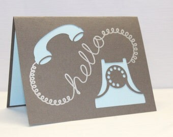 Handmade Card - Hello Card - Just Because Card - Telephone Hello Card
