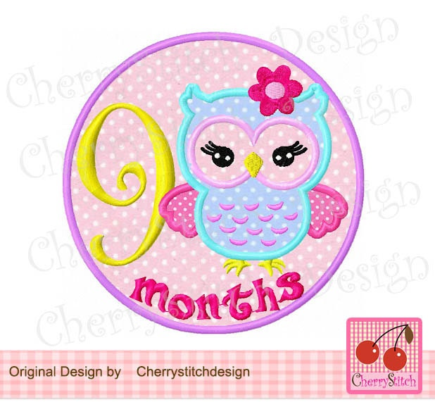 Owl Baby 9 Months Birthday Embroidery Applique Design 4x4