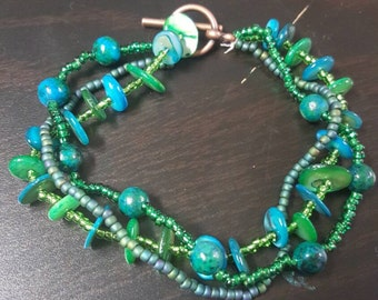 Blue and Green Beaded Layered Bracelet