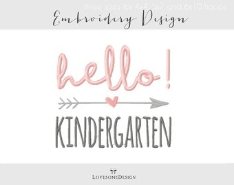 Hello Kindergarten Three Sizes Embroidery Design, Boy and Girl Kindergartener Tshirt, Hello Kindergarten Embroidery Design, Calligraphy
