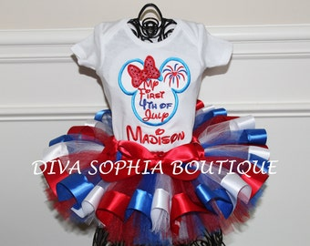 My First 4th of July Minni Ribbon Tutu Set - 4th of July Tutu Personalized