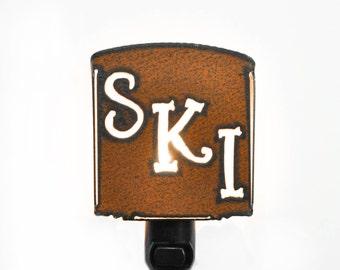 SKI skier sking nightlight night light made of Rustic Rusty Rusted Recycled Metal