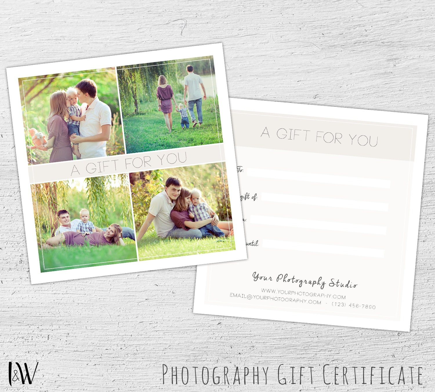 Gift card template easter photography gift certificate zoom negle Choice Image