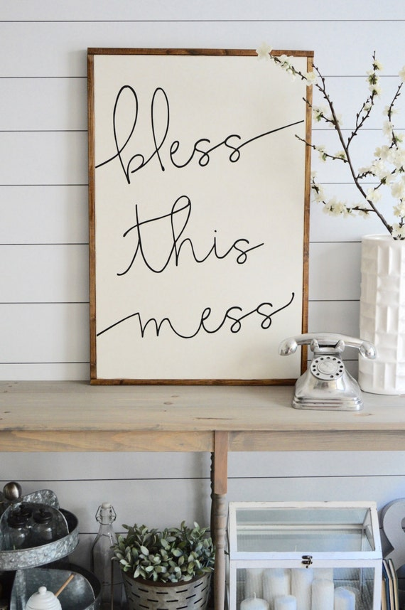 BLESS THIS MESS painted wood sign SM and L by ...