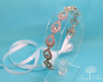 Bridal Teardrop Headband - Crystal Wedding Headband - Hair Jewelry - Wedding Headpiece - Bridal Headpiece - Bridesmaid - Tie back Hairpiece