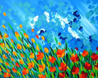 """canvas art, canvas paintings, painting of flowers, painting of a field, yellow art, blue art, bright art, gift for mum, art, 27"""" x 20"""""""